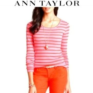 Ann Taylor Striped Long Sleeve Back Zipper Top S